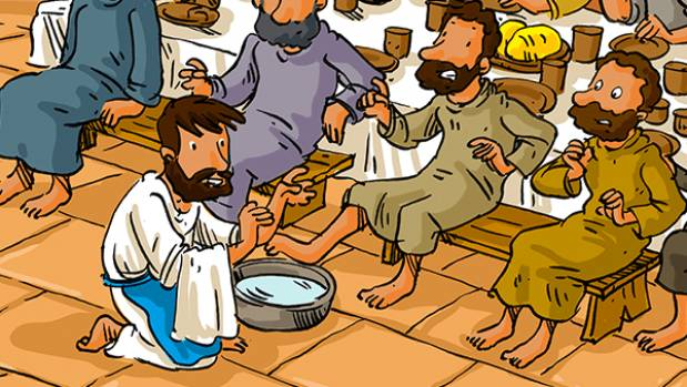 Le lavement des pieds - Jn 13, 1-15 - catéchèse enfants - Théobule